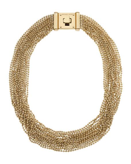 Multi-Strand Bead Necklace, Golden