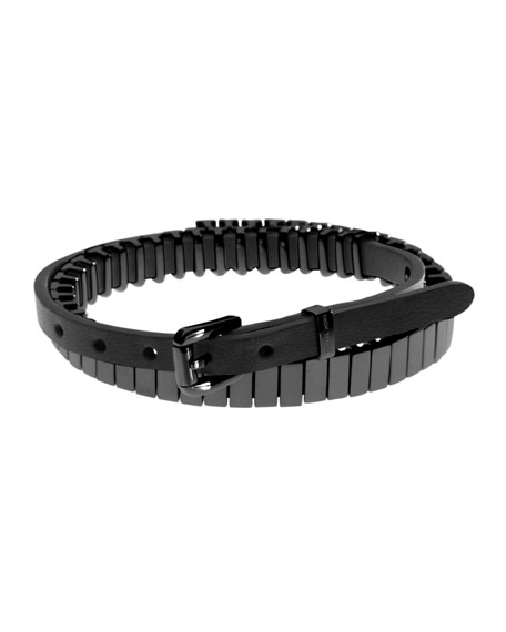Leather Double-Wrap Bracelet, Black