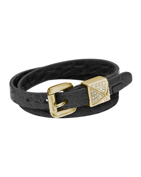 Crocodile-Embossed Leather Bracelet, Black
