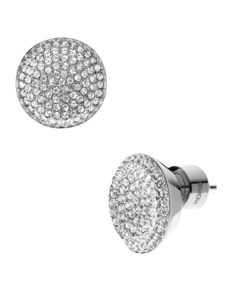 Pave Stud Earrings, Silver Color