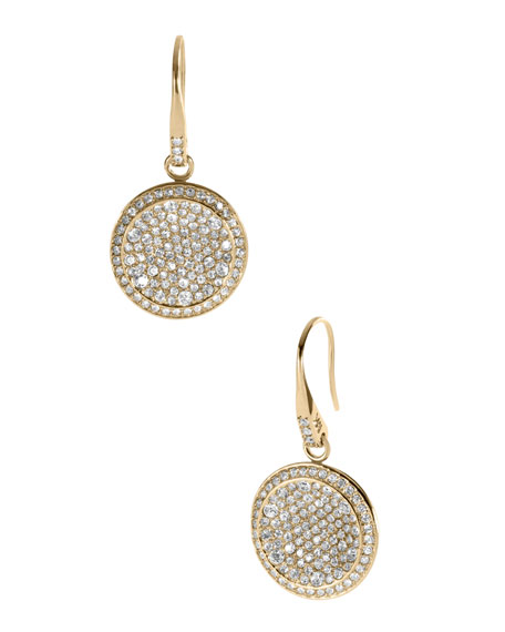 Pave Drop Earrings, Golden