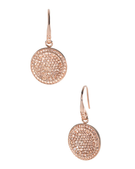 Pave Drop Earrings, Rose Golden