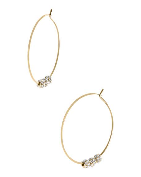 Pave-Ball Hoop Earrings, Golden
