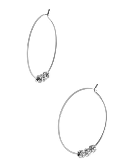 Pave-Ball Hoop Earrings, Silver Color