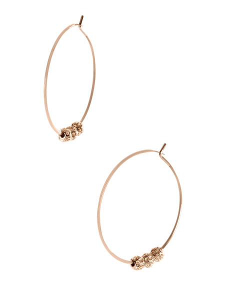 Pave-Ball Hoop Earrings, Rose Golden