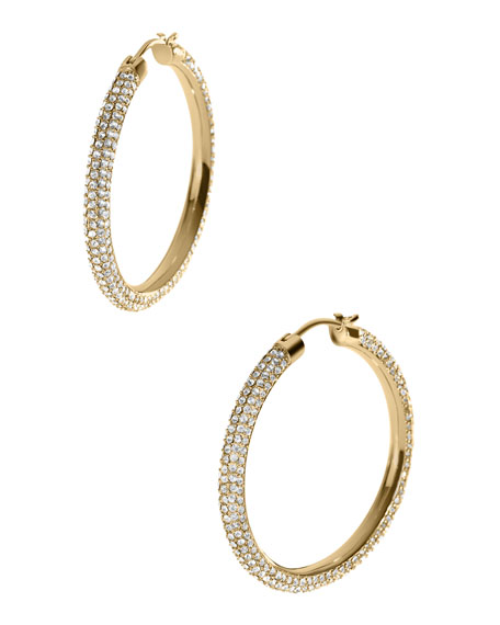Pave Hoop Earrings, Golden