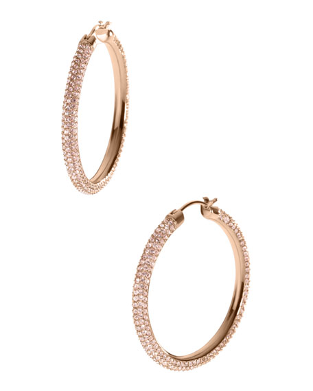 Pave Hoop Earrings, Rose Golden
