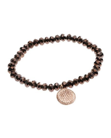 Faceted Pave Charm Bracelet, Rose Golden