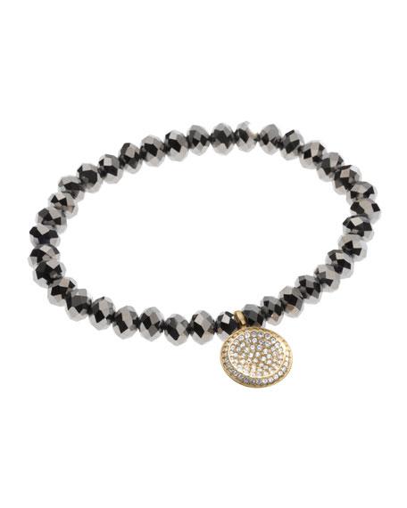 Faceted Pave Charm Bracelet, Golden