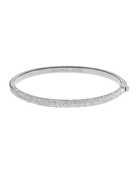 Pave Hinge Bracelet, Silver Color