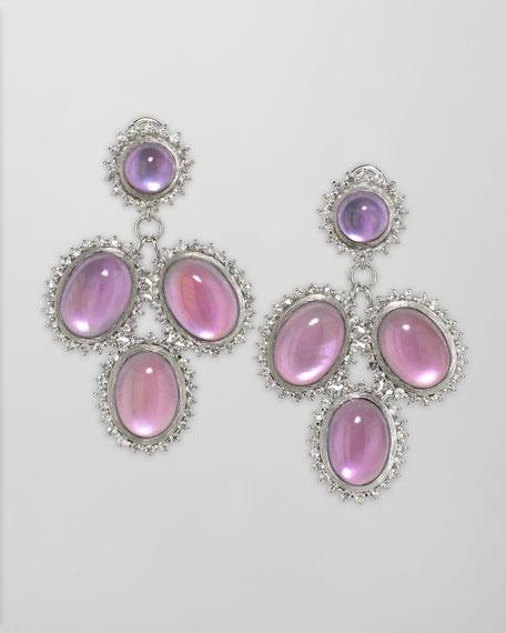 Pink Cabochon Cascade Earrings