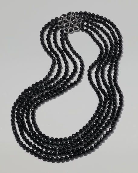Multi-Strand Onyx Bead Necklace