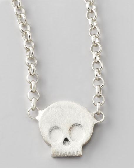 Silver Whisper Skull Pendant Necklace