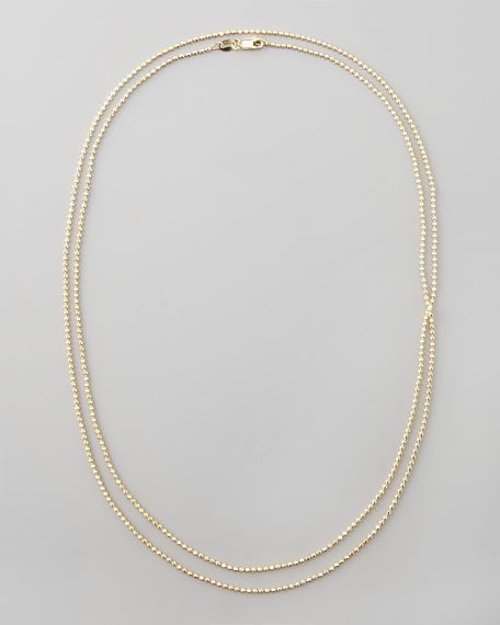 "Gold Ball Chain Necklace, 36""L"