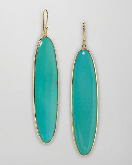 Long 18k Gold Turquoise Drop Earrings