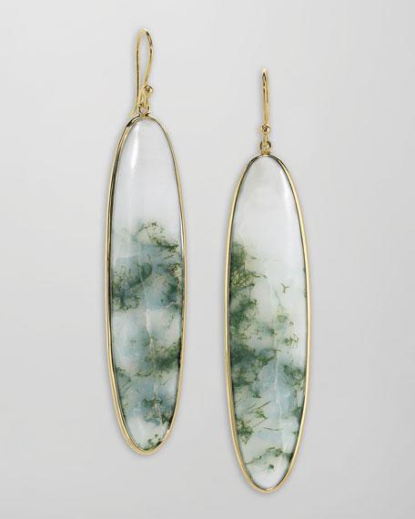 Long 18k Gold Agate Drop Earrings