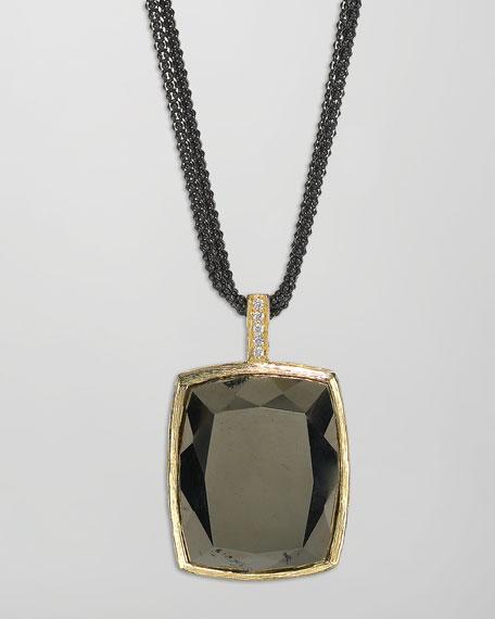 Diamond & Pyrite Square Pendant