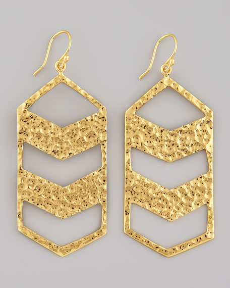 Hammered Gold Chevron Drop Earrings