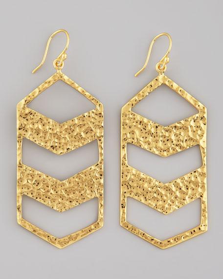 Nest Hammered Gold Chevron Drop Earrings