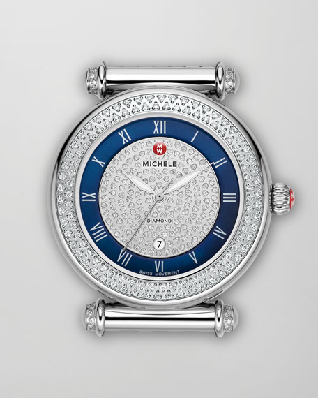Caber Pave Diamond Watch Head, Stainless Steel/Blue