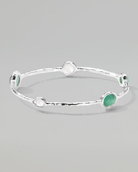 Wonderland Five-Stone Bangle, Green