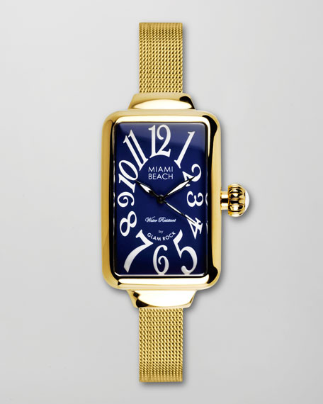 Large Mesh-Strap Rectangular Watch, Gold
