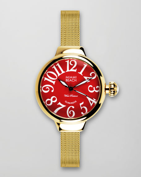 Large Mesh-Strap Round Watch, Gold