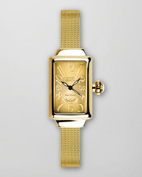 Small Mesh-Strap Rectangular Watch, Gold