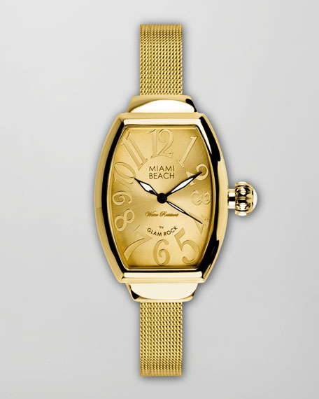 Large Mesh-Strap Curved Watch, Gold
