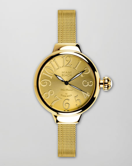 Large Mesh-Strap Round Watch, Gold