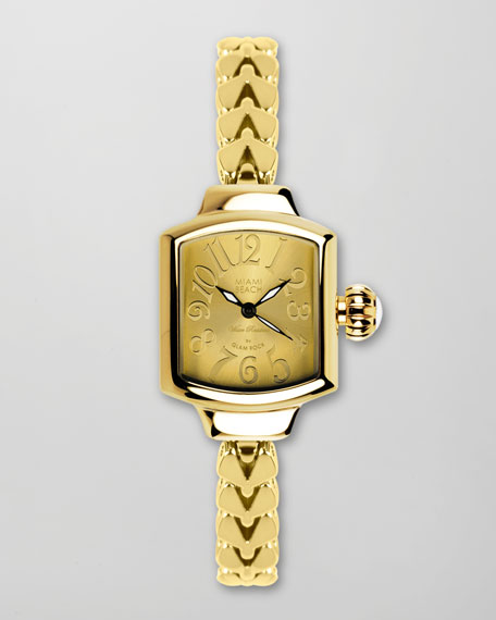 Small Fishtail-Strap Square Watch, Gold