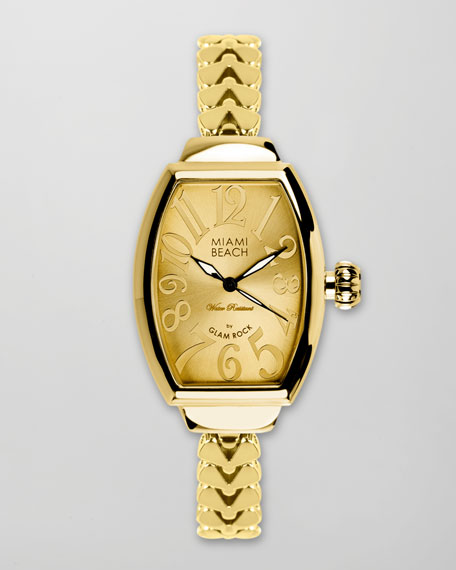 Large Fishtail-Strap Curved Watch, Gold