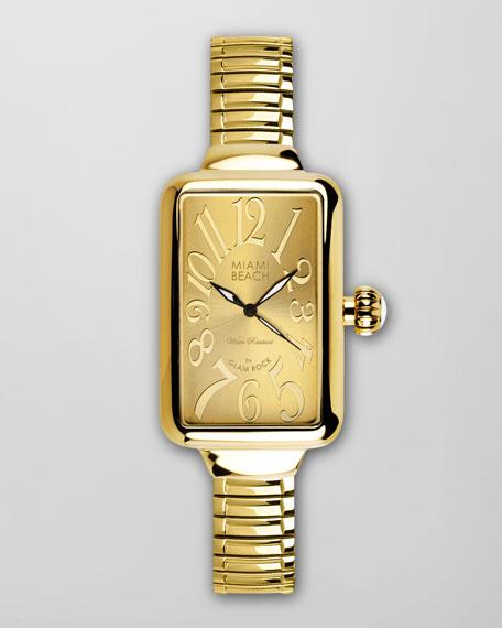 Large Rectangular Expand Watch, Gold