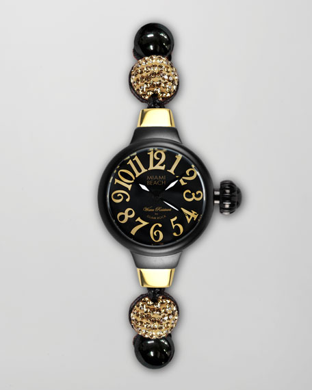 Small Round Jewelry Watch, Black
