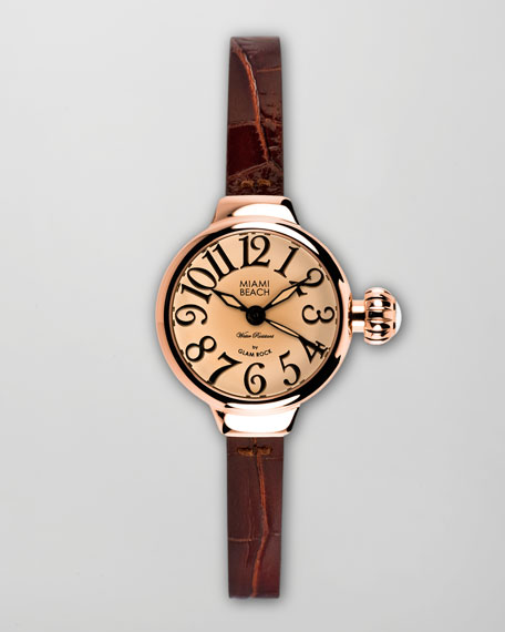 Small Alligator-Embossed-Strap Round Watch, Rose Gold