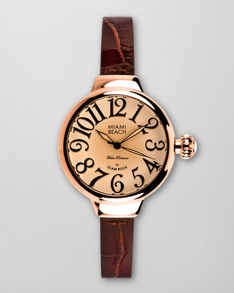 Large Alligator-Embossed-Strap Round Watch, Rose Gold