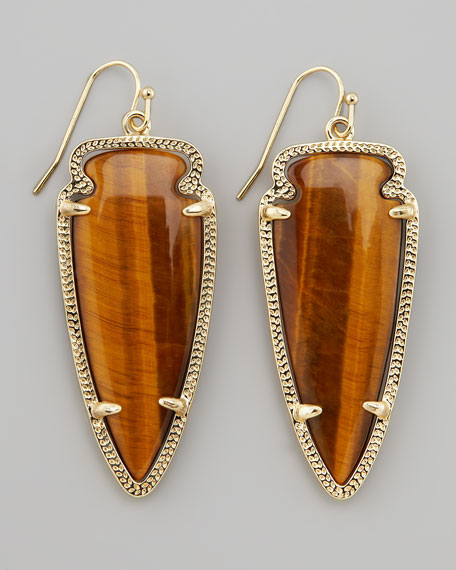 Skylar Arrow Earrings, Tiger's Eye