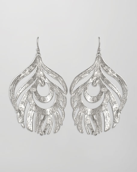 Karina Feather Earrings, Rhodium