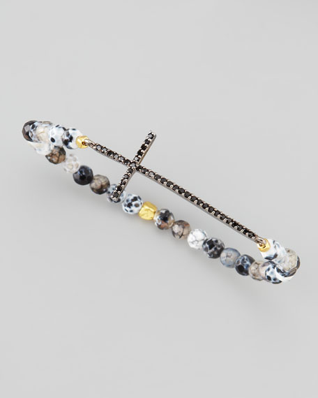 Beaded Crystal Cross Bracelet, Black/White