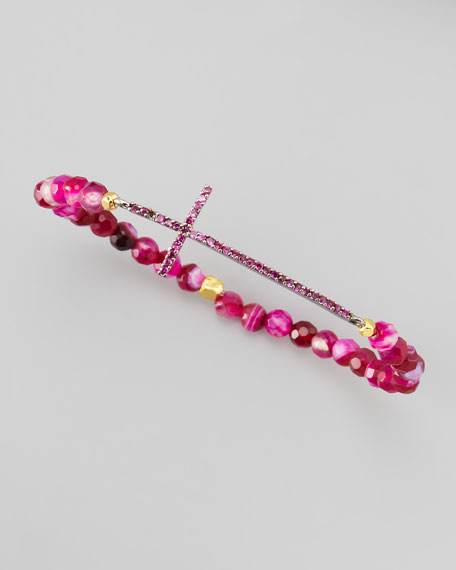 Beaded Crystal Cross Bracelet, Dark Pink