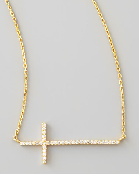 Golden Pave Cross Necklace