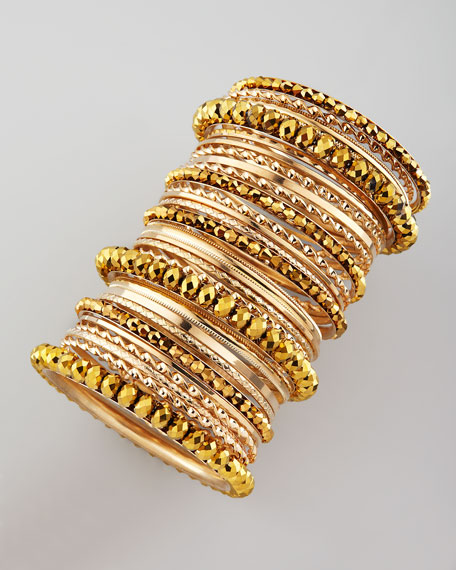 24-Piece Bangle Set, Golden
