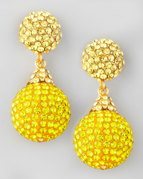 Pave Crystal Double-Drop Earrings, Yellow