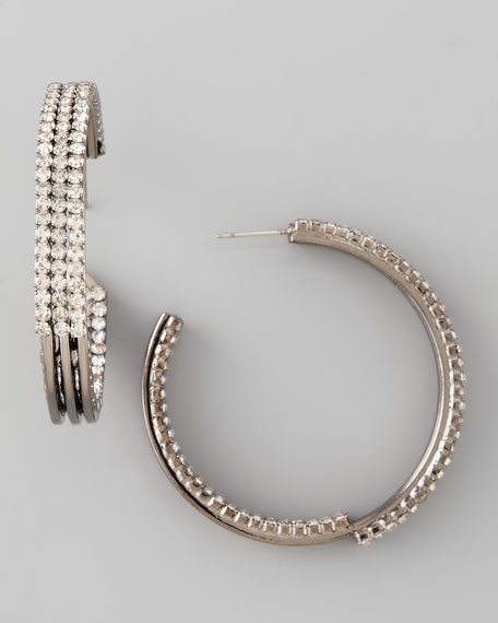 Pave Crystal Gunmetal Hoop Earrings