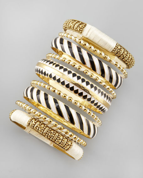 Seven-Piece Bangle Set, Black/White