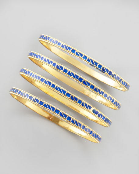 Skinny Enamel Bangle Set, Blue