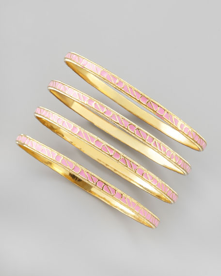 Skinny Enamel Bangle Set, Pink