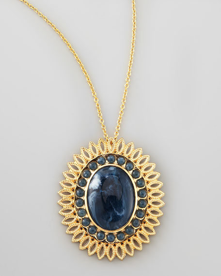 Lapis-Colored Pendant Necklace