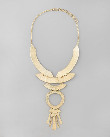 Textured Tribal Bib Necklace