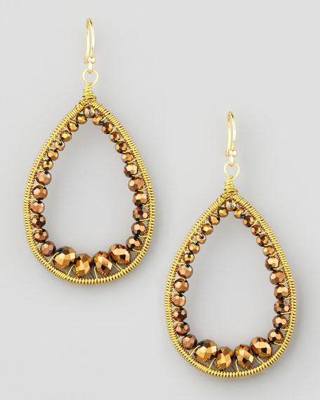 Beaded Teardrop Earrings, Bronze
